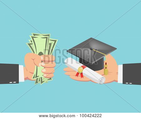 Businessman Buying A Graduation Cap And Diploma Scroll