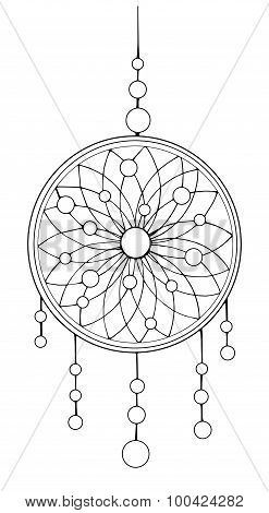 Indian dream catcher. Ethnic sketch style illustration