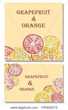 Grapefruit and orange vector backgrounds
