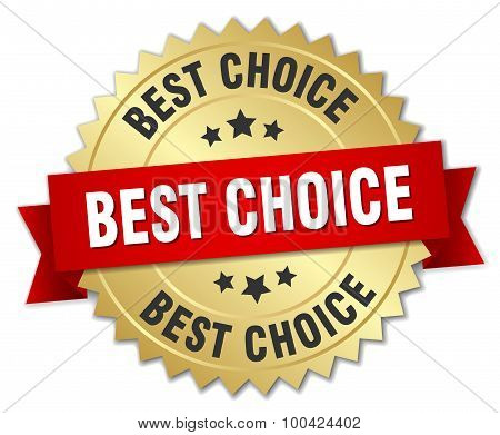 Best Choice 3D Gold Badge With Red Ribbon