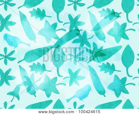 A seamless background pattern of leaves of various shapes and a bird, cut out of paper