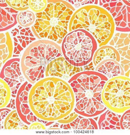 Grapefruit and orange seamless pattern