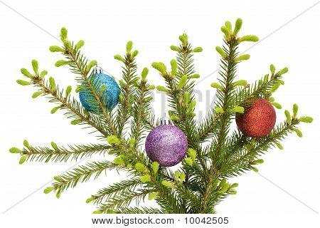Christmas  Balls On Springs Fur-tree Branch