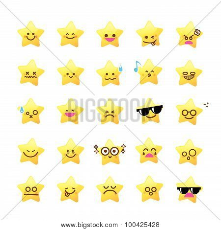Collection Of Difference Emoticon Icon Of Star Cartoon On The White Background Color
