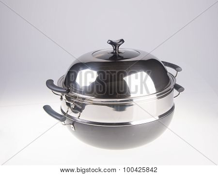 Pan. Steamer Pan On A Background