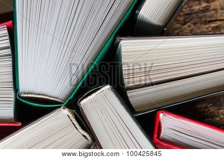 Hardcover Books Top View Of A Wooden Background