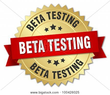Beta Testing 3D Gold Badge With Red Ribbon