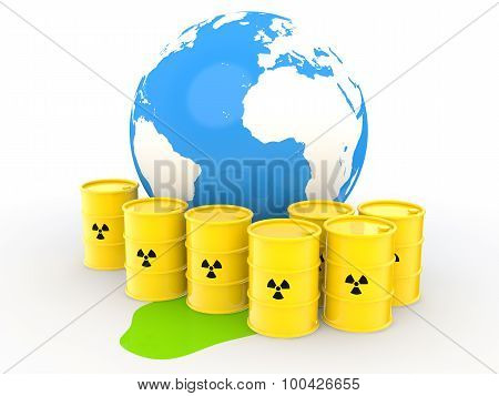 3d radiation symbol barrels with globe