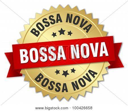 Bossa Nova 3D Gold Badge With Red Ribbon