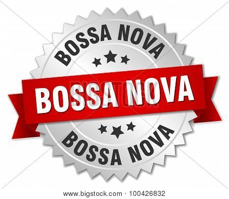 Bossa Nova 3D Silver Badge With Red Ribbon