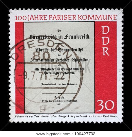 GDR - CIRCA 1971: a stamp printed in GDR shows Centenary of the Paris Commune, circa 1971