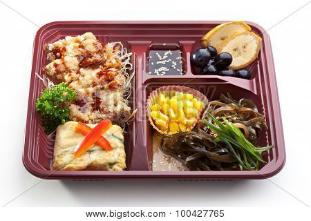 Lunch box with Main Course, Salad and Dessert