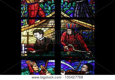 VIENNA, AUSTRIA - OCTOBER 11: America Window, Stained glass in Votiv Kirche (The Votive Church). It is a neo-Gothic church located on the Ringstrabe in Vienna, Austria on October 11, 2014