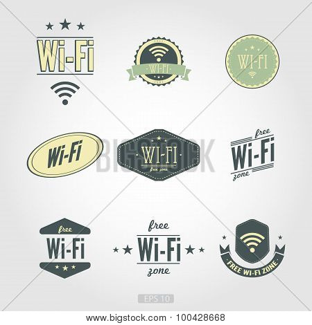 Wi fi nine icons in vintage retro style