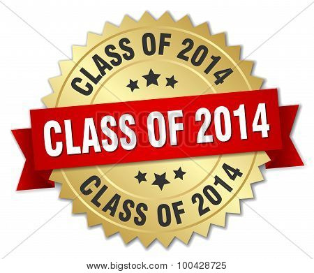 Class Of 2014 3D Gold Badge With Red Ribbon
