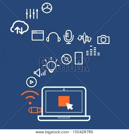 Modern computer media illustration with different icons. Design elements