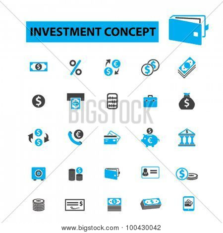Investment icons concept. Investing, invest, finance, money, investor, stock market,  savings, business, bank. Vector illustration set