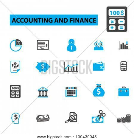 Accounting and finance icons concept. Accountant,  finance,  account,  bookkeeping,  tax,  business,  accounting icons,  calculator. Vector illustration set