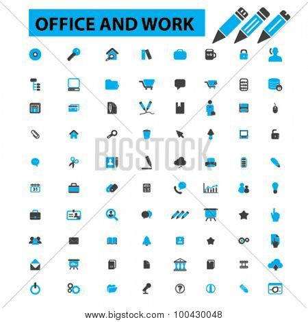 Office and work icons concept. Office desk,  business,  office people,  office room,  office supplies, office staff, desk. Vector illustration set