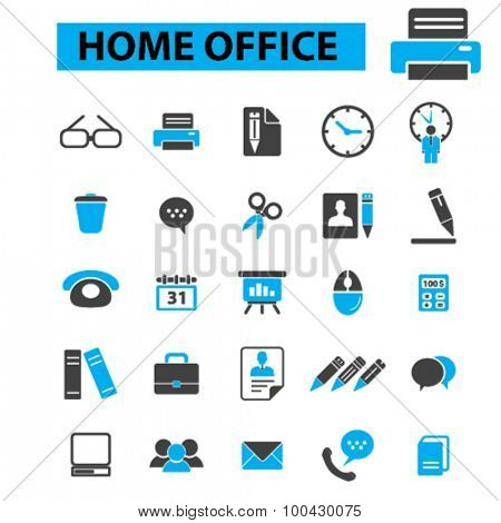 Home office icons concept. Printer, business office, freelance, pen, pencil, phone, chart, board, deadline. Vector illustration set.