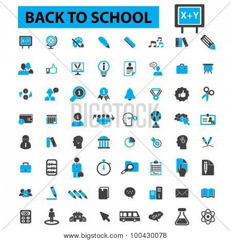 Back to school icons concept. Learning, study, lesson, classroom, teacher, school supplies, student, education. Vector illustration set.