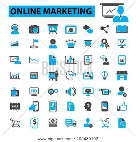 Online marketing icons concept. Internet marketing,  digital marketing,  online promotion,  social media,  seo. Vector illustration set