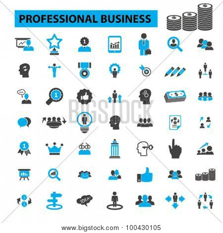 Professional business icons concept. Business people, business man, business meeting, business card, business team, business man, business presentation, conference, office. Vector illustration set