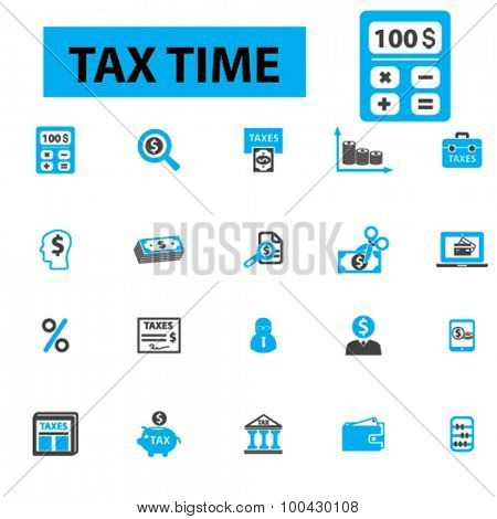 Tax time icons concept. Accounting, money, tax forms, taxation, finance, bank, payment tax return, accountant, calculator, finance. Vector illustration set