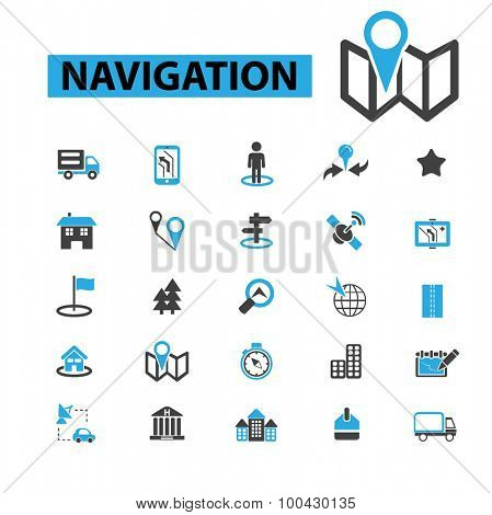 Navigation icons concept. Route, map, location, compass, gps navigation. Vector illustration set.