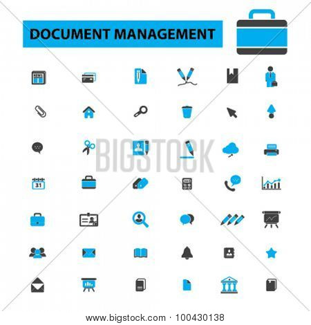 Document management icons concept. Business paper, report, file, folder, contract, form,  book, document storage, records management, scanning documents, workflow. Vector illustration set.