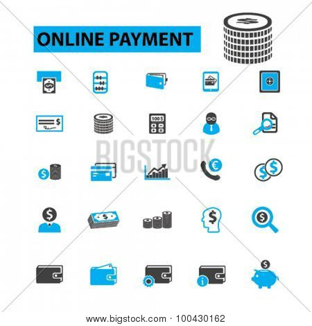 Online payment icons concept. Online banking,  mobile banking,  internet banking, online shopping,  pay online,  online,  credit card,  online bill pay. Vector illustration set