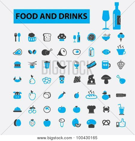 Food and drinks icons concept. Vegetables, meat, fish, fruits, milk, eating,  cooking,  dinner,  pizza, restaurant menu,  cafe. Vector illustration set