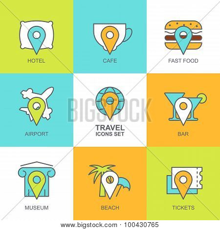 Set Of Vector Flat Travel Icons. Map Symbols, Waypoint, Hotel, Ticket, Airplane, Cafe, Bar, Restaura
