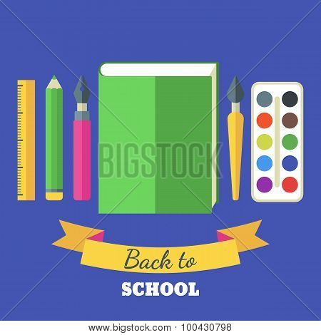 Back To School Flat Illustration. Green Big Book, Tools And Art Supplies For Design, Drawing, Painti