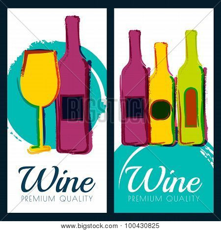 Vector Watercolor Illustration Of Wine Bottle And Glass. Concept For Wine List, Label, Banner, Menu,