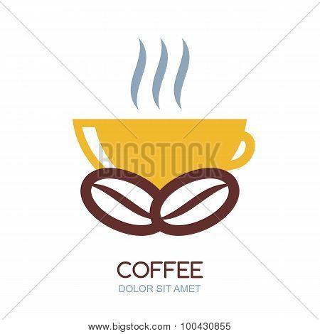 Abstract Vector Logo Design Template. Hot Coffee In Cup And Coffee Beans, Natural Drink.