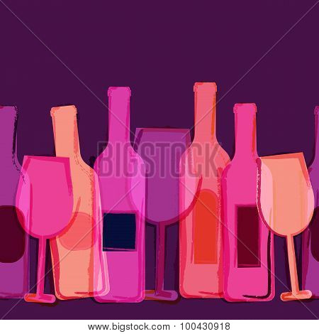 Abstract Watercolor Seamless Background, Red, Pink, Purple Wine Bottles And Glasses.