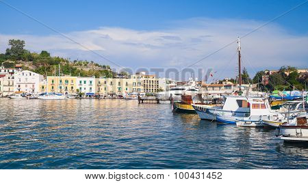 Ischia Port Cityscape, Harbor With Fishing Boats