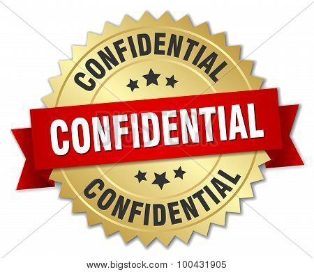 Confidential 3D Gold Badge With Red Ribbon