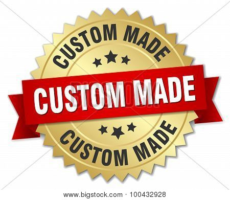 Custom Made 3D Gold Badge With Red Ribbon