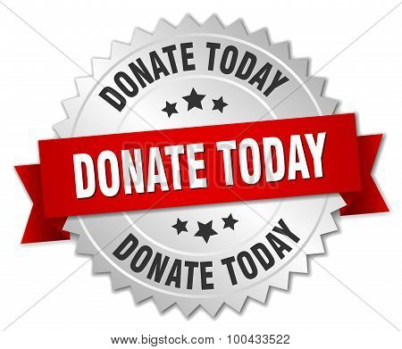 Donate Today 3D Silver Badge With Red Ribbon