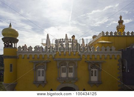 Backlit Frontal View Of Pena National Palace