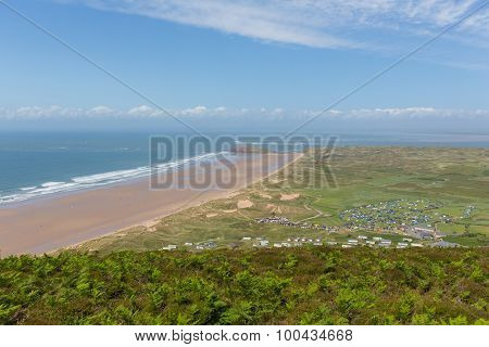 Rhossili beach and coast towards Hillend on The Gower peninsula South Wales UK