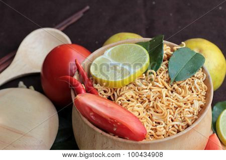 Dry  Noodle - Asian Ramen And Vegetables For The Soup