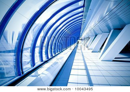 symmetric business modern blue hall inside airport