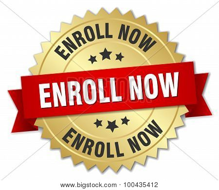 Enroll Now 3D Gold Badge With Red Ribbon