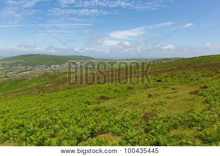 Welsh countryside on top of Rhossili Down mountain by the beach on The Gower peninsula Wales