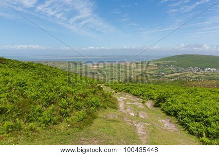 View of Welsh countryside on top of Rhossili Down mountain by the beach on The Gower peninsula Wales