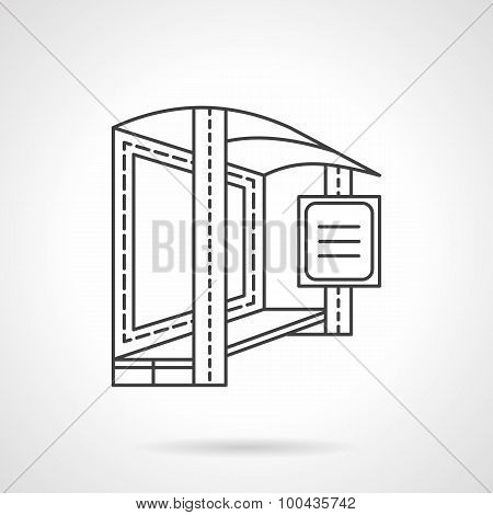 Bus stop flat line vector icon