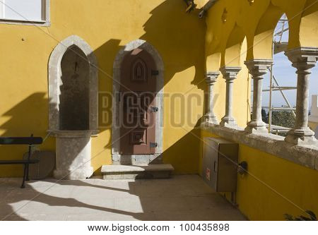Traditional Yellow Courtyard Of Pena National Palace